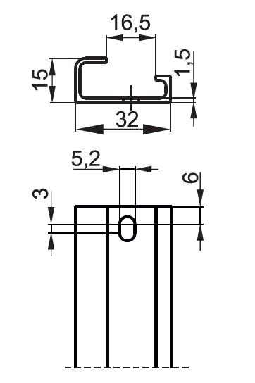 TS32/AL listwa aluminiowa wymiary - POKÓJ S.E.